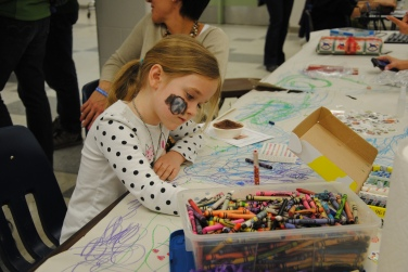 Coloring at the Kids' Activity Table
