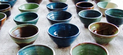 Beautiful soup bowls donated by Deborah Bernstein
