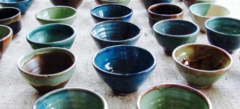 Beautiful soup bowls donated by Deborah Bernstein