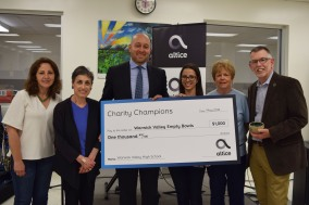 """Altice presented a $1000 award to Warwick Valley Empty Bowls 2018 through its """"Charity Champions"""" program. From left: Shari Blauner, WVHS art teacher & Empty Bowls Club advisor; Louise Hutchison, WVCSD Communications and WV Empty Bowls Coordinator; John Dullaghan, Altice Director, Government Affairs; Gina Buffardi, WVHS teacher and Empty Bowls Club advisor; Shirley Puett, Director of Warwick Backpack Snack Attack, and Michael Sweeton, Warwick Town Supervisor"""